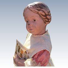 """16"""" Schoenhut Girl with Carved Braided Hair Blue Bow"""