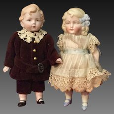 Two German Mignonettes with  Molded Hair