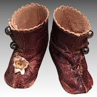 Tiny Brown French Doll Boots Marked B 2