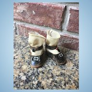 Brown Leather French Doll Shoes and Stockings