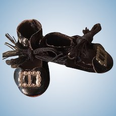Tiny Black Oil Cloth Shoes for Small Doll