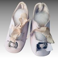 Blue Leather French Doll Shoes Marked 2