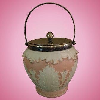 Antique Locke & Co Worcester Blush Porcelain Lidded Biscuit Jar Made in England
