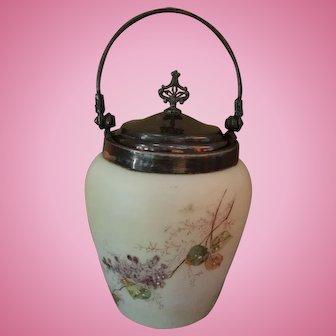 Antique Floral Painted Cream Biscuit Jar with Van Beroh Silver Plate Lid