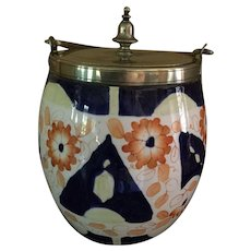 Vintage Cobalt Blue/White/Orange Biscuit Jar