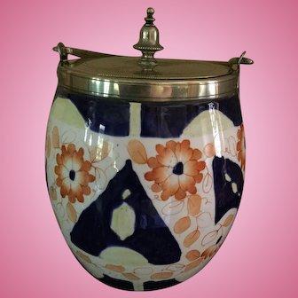 Vintage Cobalt Blue/White/Orange Biscuit Jar