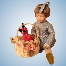"Schoenhut Doll 15"" with Sad Face and Original Wig"