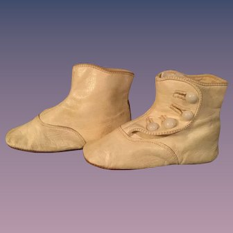 Vintage White Soft Leather Baby/Doll Side Button Boots