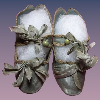 French Blue Silk Doll Shoes Size 8