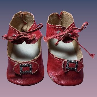 Large Red Oilcloth Shoes for French or German Doll
