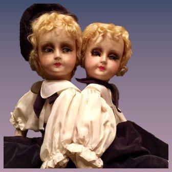 "Boy & Girl Twin Blossom Boudoir Dolls 25"""