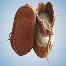 Tan Leather  French Doll Shoes Marked 4