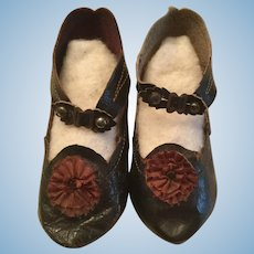 Black Leather French/German Doll Shoes Marked 10