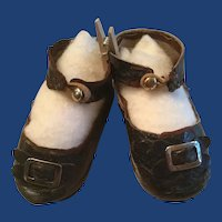 Soft Black Leather Doll Shoes