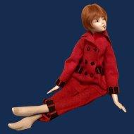 "Cubeb  Boudoir Doll 25""  circa 1920's  Original Pantsuit"