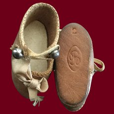 Early Bru Jne Brown Leather Doll Shoes Marked 2 —This item is 20% off for the month of July