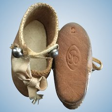 Early Bru Jne Brown Leather Doll Shoes Marked 2