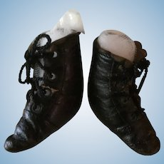 Soft Black Leather Antique Doll Boots for Fashion Doll