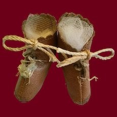 Brown Leather Doll Boots Marked JJ