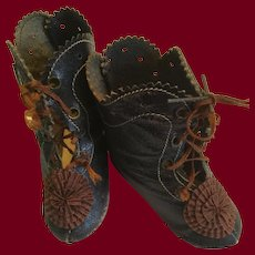 Beautiful Black French Doll Boots with Rosettes Marked 11 C.M.