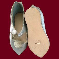 Blue Silk German  Doll Shoes Marked 4 with HH in a heart