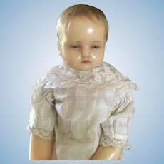 """Antique Poured Wax Child Doll 18"""""""
