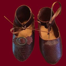 Antique Brownish Red Doll Shoes for Large French or German Doll Marked 8