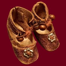 Tiny Brown Leather Keystone Doll Shoes Size 0