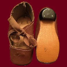 Brown Oilcloth Doll Shoes with Heel Marked 4