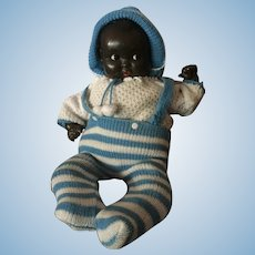 Black German Baby Doll with Flirty Eyes 16""