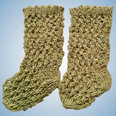 Green Crocheted French or German Doll Stockings