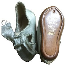 BEBE Jumeau Blue Silk Doll Shoes Gilt Lettering Size 6