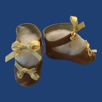 French Brown Leather Doll Shoes Marked L.I.