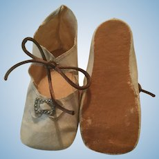 Extra Large White Oilcloth Doll Shoes