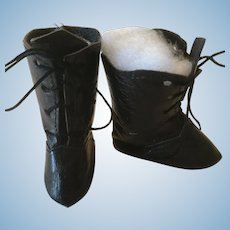 Black Leather Doll Boots Marked 6