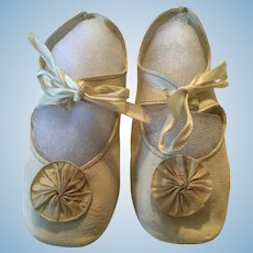 Large Soft White Leather Doll Shoes with Rosettes