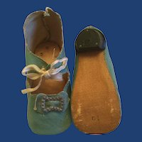 Vintage Green Oilcloth Doll Shoes Marked 10