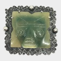 Vintage Carved Figural Mexican Silver Brooch