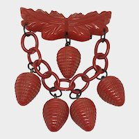 Retro Red Bakelite Berry Brooch