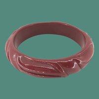 Cherry Red Carved Bakelite Bangle Bracelet