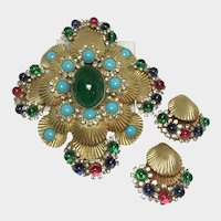 Spectacular deLillo Book Piece Vintage Demi Parure Brooch and Earrings