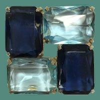 Simply Modern Sapphire and Aqua Glass Cadoro Brooch