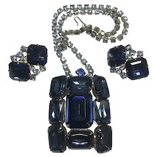 Regal Sapphire Blue Glass Vintage Necklace and Earring Set