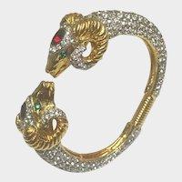 Kenneth J Lane Rhinestone Ram Clamper Bracelet