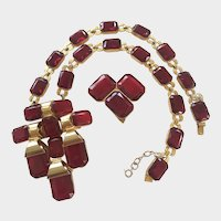 Rare Ruby Red De Lillo Vintage Necklace and Dress Clip Set