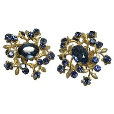 Stunning Vintage Miriam Haskell Sapphire Glass Earrings