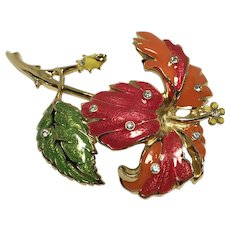Fabulous Jose & Maria Barrera Avon Enamel Flower Brooch