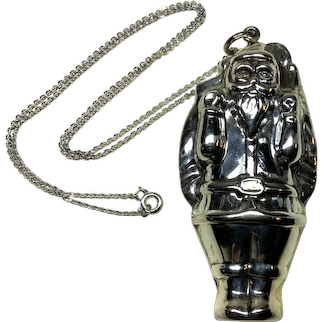 Santa Pendant, Sterling Silver with Sterling Silver Chain
