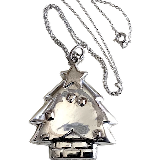 Christmas Tree Pendant, Sterling Silver on a Sterling Silver Chain
