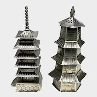 Silver Japanese Pagoda Salt and Pepper Shaker Set, Asahi